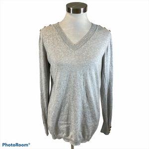 CAbi Grey Cashmere Prep School Sweater Medium